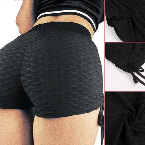 Texture Fabric Women Gym Compression Booty Shorts Spandex Ladies Volleyball Running lycra Athletic - Cozzoo