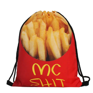 Mc Poop French Fries Funny Design Drawstring Bags Cinch String Backpack - Cozzoo