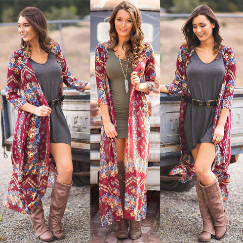Women Kimono Floral Print Open Front Three Quarter Sleeve Loose Long Boho Vintage Beach Cover Up Cardigan Burgundy - Cozzoo