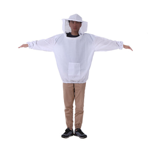 White Beekeeping Jacket Veil Beekeeping Hat Suit Smock Protective Equipment Kit One Size Fits All - Cozzoo