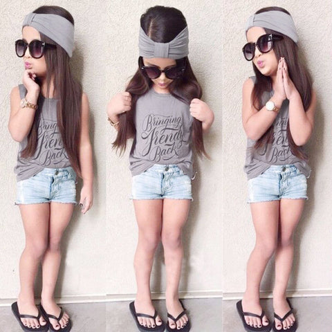 Fashion Kids Baby Girls Three-Piece Set Outfits Print Round Neck Sleeveless Headband T-Shirt Jeans Pants Grey - Cozzoo