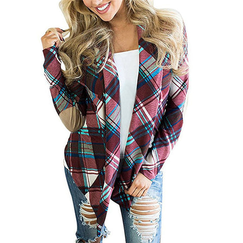 Women's Plaid Print Long Sleeve Elbow Patch Draped Open Front Cardigan Sweater - Cozzoo