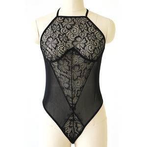 Women Sexy Lace Lingerie Dress Black Babydoll Underwear Sleepwear G String - Size L - Cozzoo