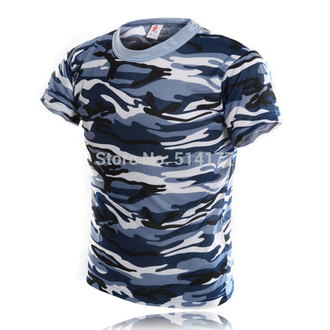 Blue Navy Camouflage T-Shirts - Cozzoo