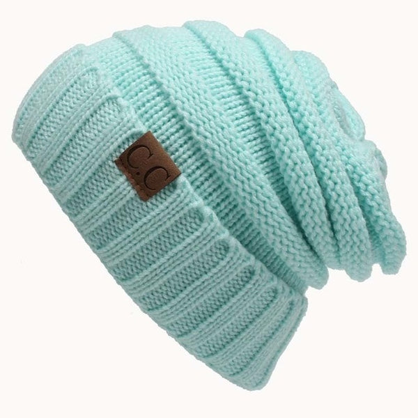 CC Beanies Hats & Caps Women Winter Knitted Wool Cap Men Casual Unisex Solid Color Hip-Hop Skullies Beanie Warm Hat - Cozzoo