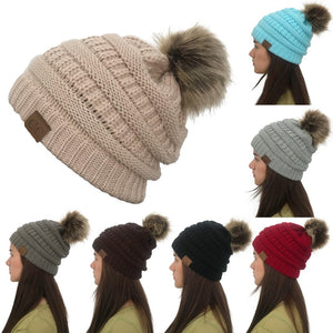 New Winter CC Beanie Faux Fur Pom Pom Hats Ladies Women Knit Fleece Caps Girls Knitted Beanie Wool Hat Skullies Thick Warm Caps