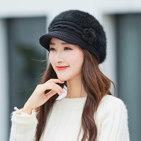 Beret Women Rabbit Fur Warm Winter Cap With Visor Elegant Floral Ladies Knitted Berets Hats Fashion Fleece Hat Knit Beanies Caps - Cozzoo