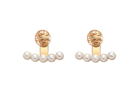 AM1606- 5 Pearls & Filigree Earrings