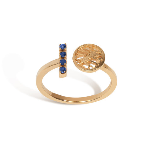 AM1710- Circle & Stone (Emeralds/Sapphires) Ring