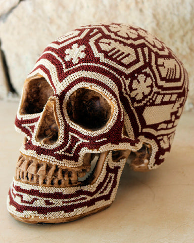 Big Huichol Beaded Skull