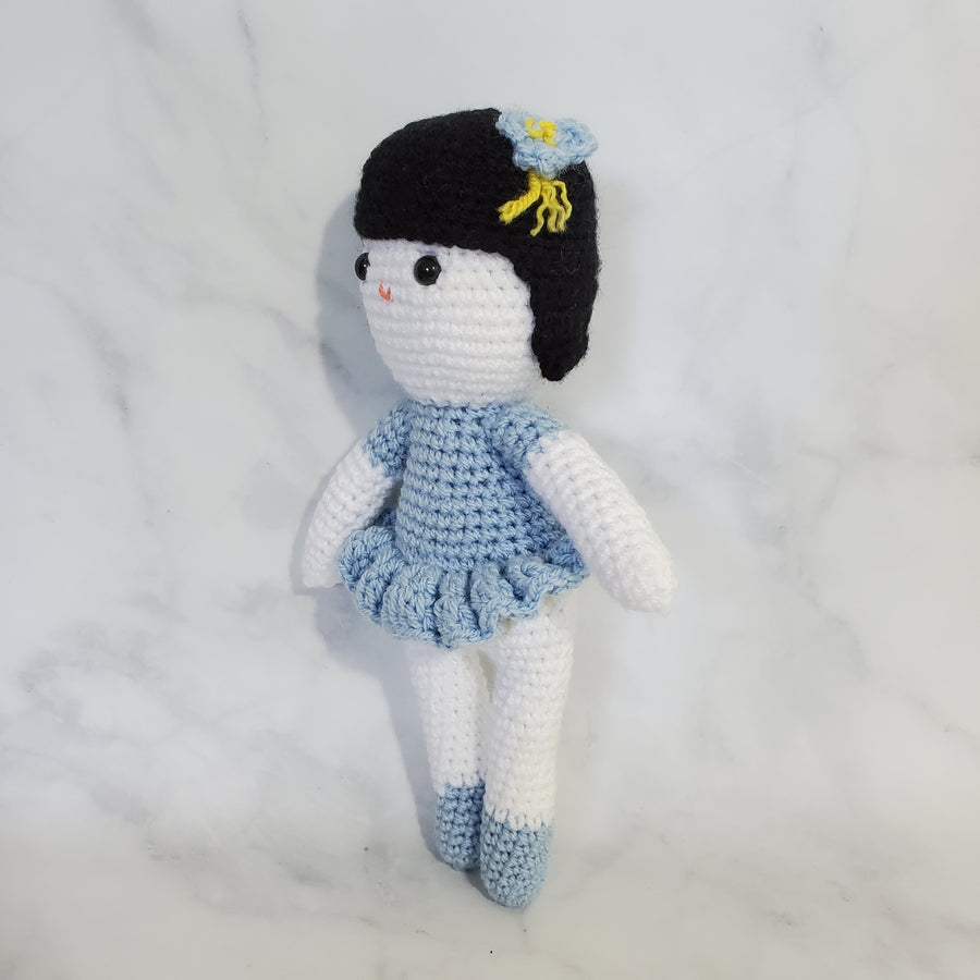 Doll Girl with Black Hair - 10 Inch