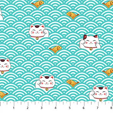 Sushi - Lucky Cats in Turquoise