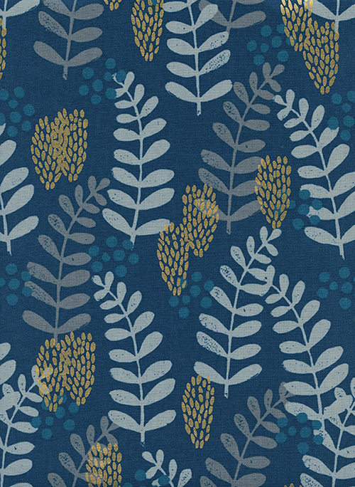 Imagined Landscapes - Fern Dell in Navy Metallic
