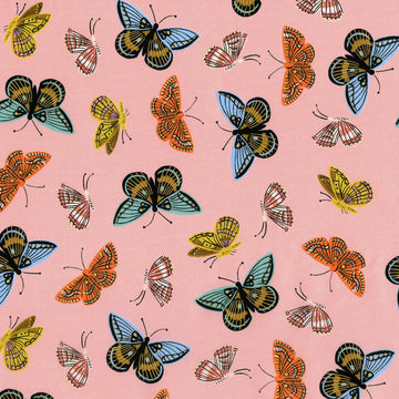 English Garden - Monarch in Peach Metallic | Cotton Lawn