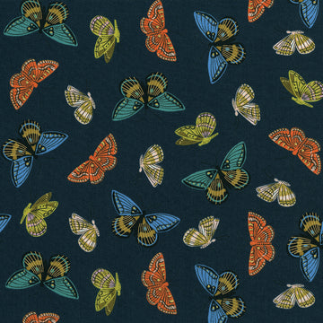 English Garden - Monarch in Navy Metallic | Cotton Lawn