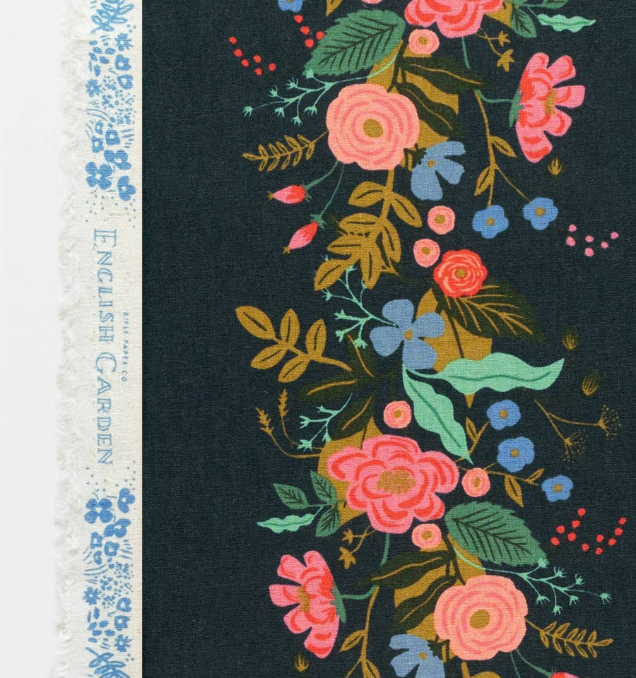 English Garden - Floral Vines in Navy | Canvas