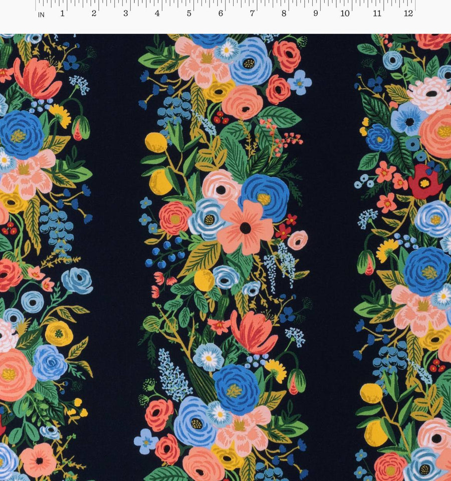 Wildwood - Garden Party Vines in Blue | Rayon