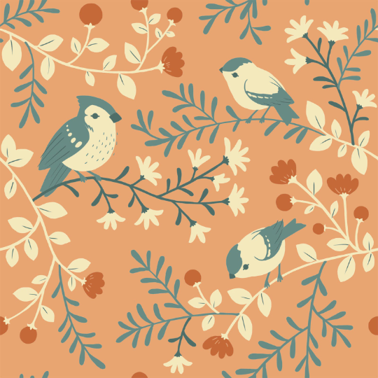 Best of Teagan White - Birds and Branches Coral | Organic Poplin