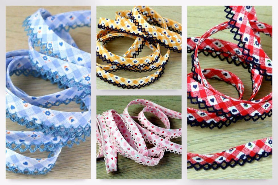 Floral Gingham Picot Bias Tape
