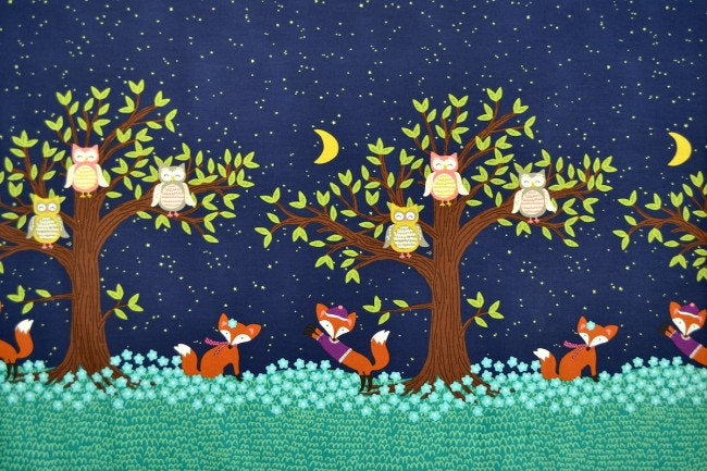Fox Fabric, Fall Fabric, Michael Miller Panel Fabric, Border Fabric, Fox Woods Fabric, Owl Fabric, Owl and Fox Fabric, Fabric by the Yard