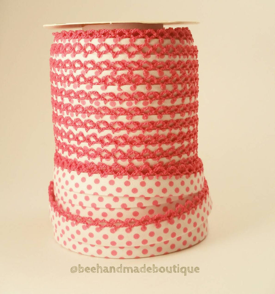 Pink Crochet Edge Bias Tape