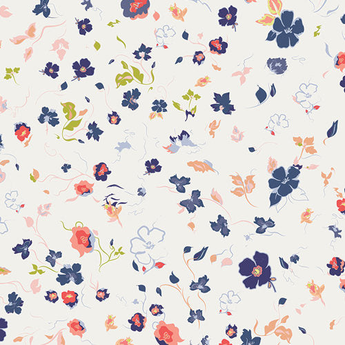 July 4th fabric, White Floral Fabric, Blue Floral Fabric, Art Gallery Fabric, Joie de Clair, Chic Flora, Fabric by the Yard, Designer Fabric