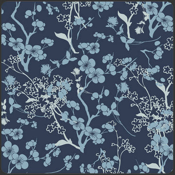 Blue VOILE Fabric, Art Gallery Fabric, VOILE fabric, Branch Silhouette Blue in VOILE, Blue Tree Branch, Blue Floral Voile, Navy Floral Voile