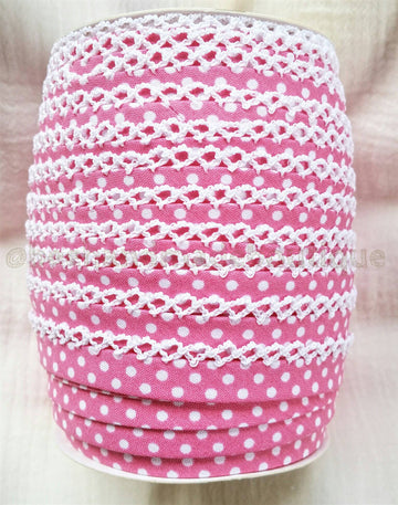 Crochet Bias Tape, Pink Polka Dot Bias Tape, Crochet Edge Bias Tape, ROSE PINK,  Binding by the Yard, Pink Double Fold Bias Tape, Zakka
