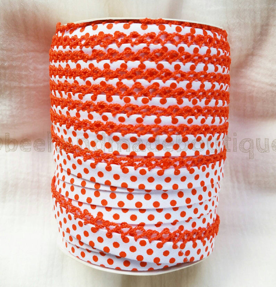 Orange Polka Dot Bias Tape, Crochet Edge Bias Tape, Picot Bias Tape, Crochet Bias Tape, Double Fold Bias Tape, By the Yard, Zakka, Orange