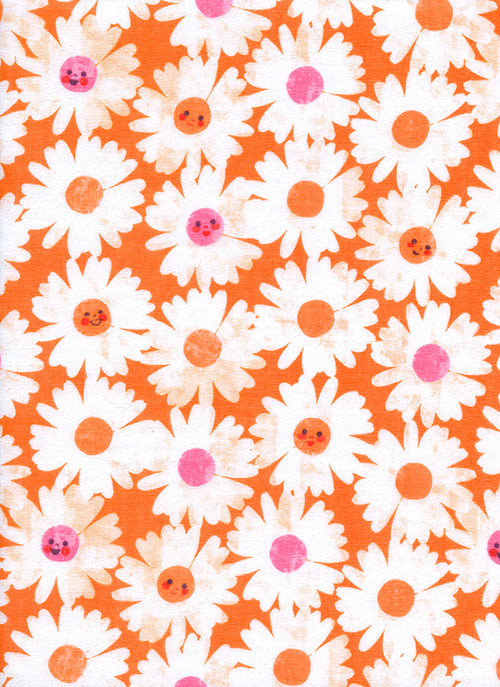 Cotton Steel DOUBLE GAUZE, Cotton + Steel Fabric, Floral Double Gauze Fabric, Trinket Happy Garden Tangerine, Melody Miller, Baby Fabric
