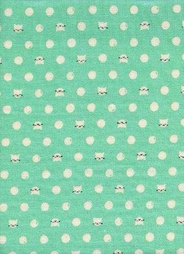 Cat Lady Friskers, Double Gauze Fabric, Teal, Cotton Steel Double Gauze, Cat Double Gauze Fabric, Sarah Watts, Green Cat Fabric, Cat Fabric