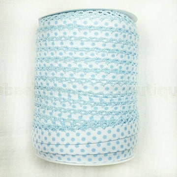 Blue Polka Dot Bias Tape, Double Fold Bias Tape, Crochet Bias Tape, Crochet Edge Bias Tape, Picot Bias Tape, BABY BLUE Dot on White, BTY