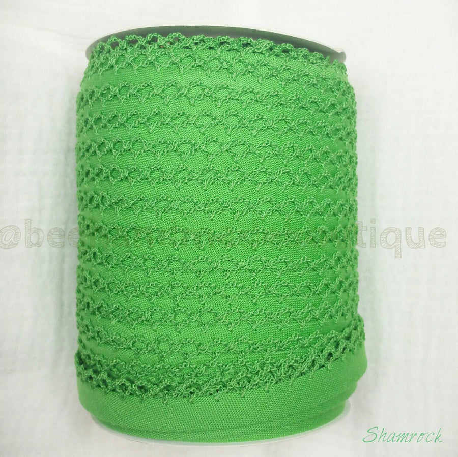 Green Picot Edge Bias Tape, Double Fold Bias Tape, Crochet Edge Bias Tape, Quilt Binding, SHAMROCK Crochet Bias Tape By the Yard, Green Lace