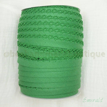 Green Picot Bias Tape, Double Fold Bias Tape, Crochet Edge Bias Tape, Quilt Binding, EMERALD Crochet Edge Bias Tape By the Yard, Green Lace