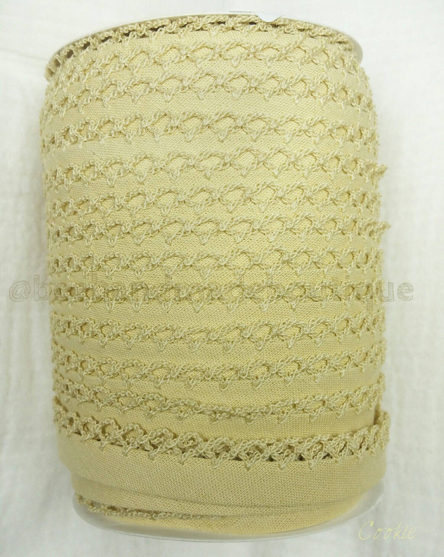 Beige Double Fold Crochet Bias Tape, Crochet Bias Tape, Picot Bias Tape, Quilt Binding, COOKIE Bias Tape By the Yard, Beige Lace Trim