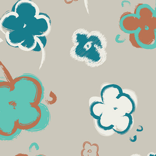 Pat Bravo, Grey Floral Fabric, VOILE Fabric, Summer Fabric, Art Gallery Fabirc,  Instinct Blooms Terra in VOILE Etno by Pat Bravo