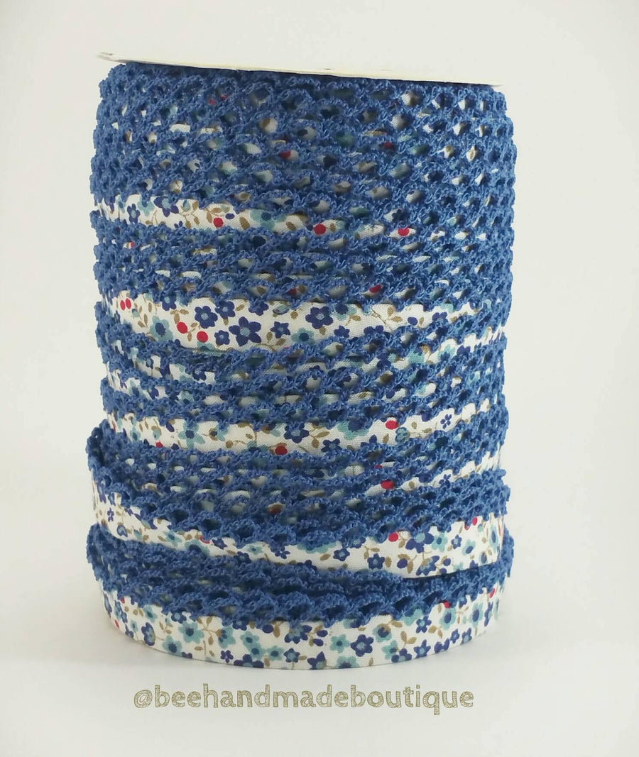 Blue Floral Double Fold Bias Tape, Floral Crochet Edge Bias Tape, Blue Bias Tape, Picot Bias Tape, Bias Tape by the Yard, Quilt Binding
