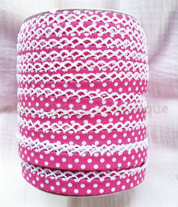 Pink Bias Tape, Polka Dot Bias Tape, Crochet Edge Bias Tape, Picot Edge Bias Tape, Double Fold Bias Tape, FUCHSIA Crochet Edge Bias Tape