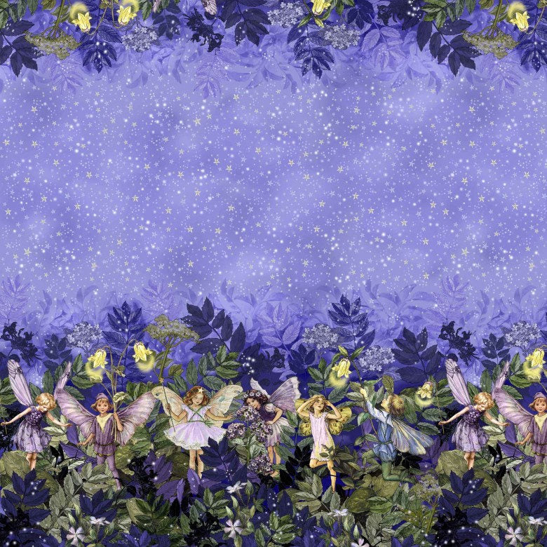 Night Fairies Border Fabric