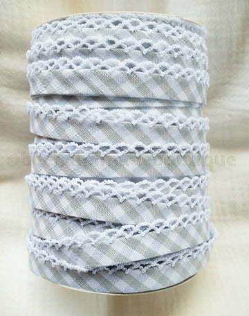 Gray Gingham Crochet Double Fold Bias Tape, Gray Picot Bias Tape, Bias Tape Double Fold, Bias Tape Crochet Edge, Bias Tape by the Yard, Lace