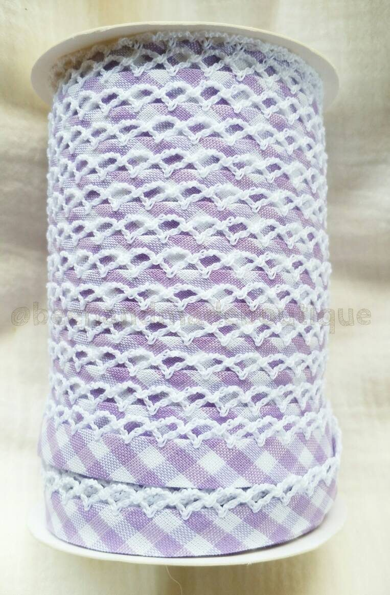 Picot Crochet Lace Edge Double Fold Bias Tape Binding Trim Purple Gingham Tape Color Crochet BTY