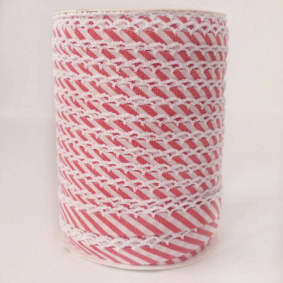 Crochet Edge Bias Tape, Picot Bias Tape, Fuschia Pink Stripe Bias Tape, Pink Quilt Binding, Crochet Lace Trim , Candy Stripe Picot Bias Tape