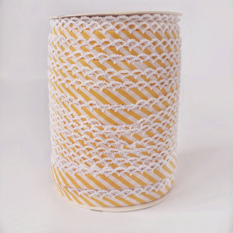 Yellow Stripe Double Fold Crochet Bias Tape
