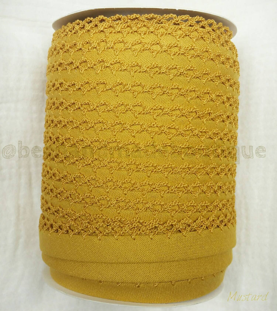 Mustard Crochet Edge Bias Tape