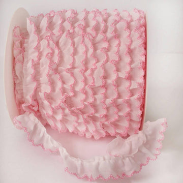 Pink Crochet Edge Ruffle Trim