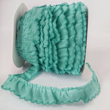 Green Ruffle with Crochet Edge