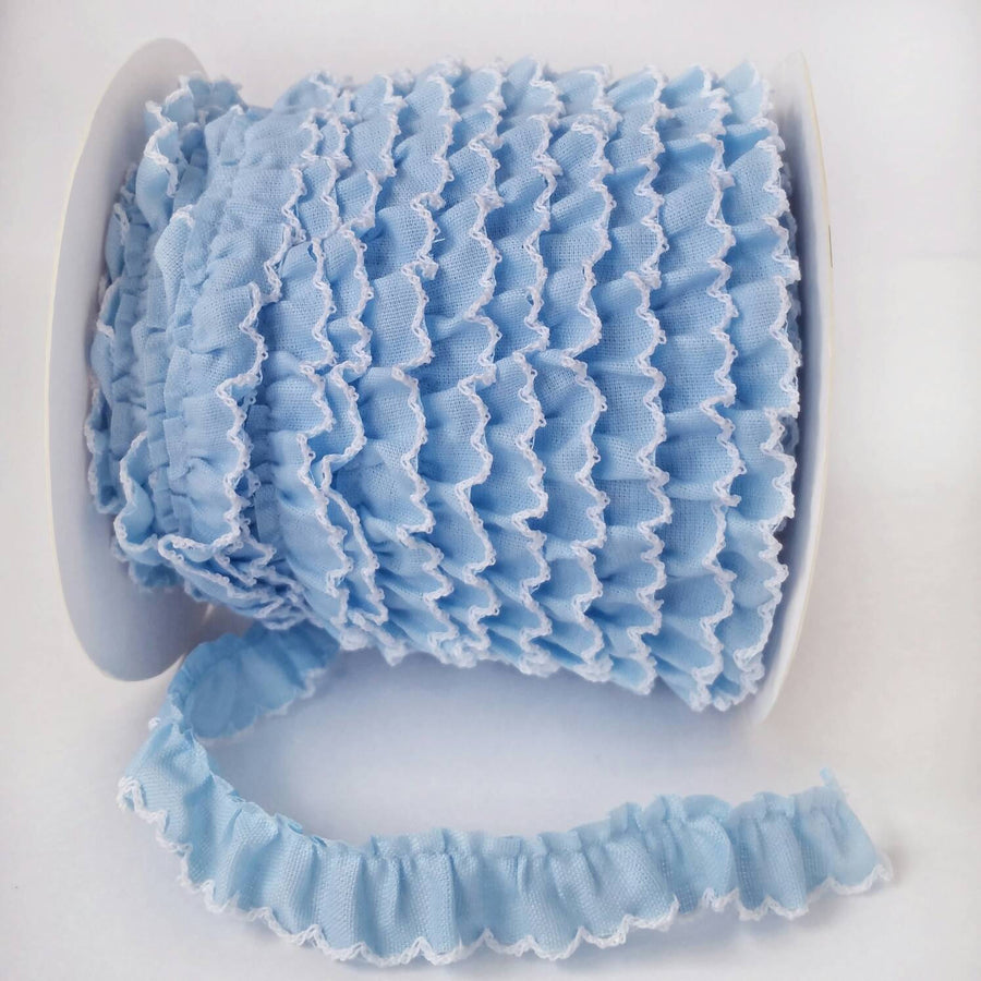 Blue Ruffle with Crochet Edge