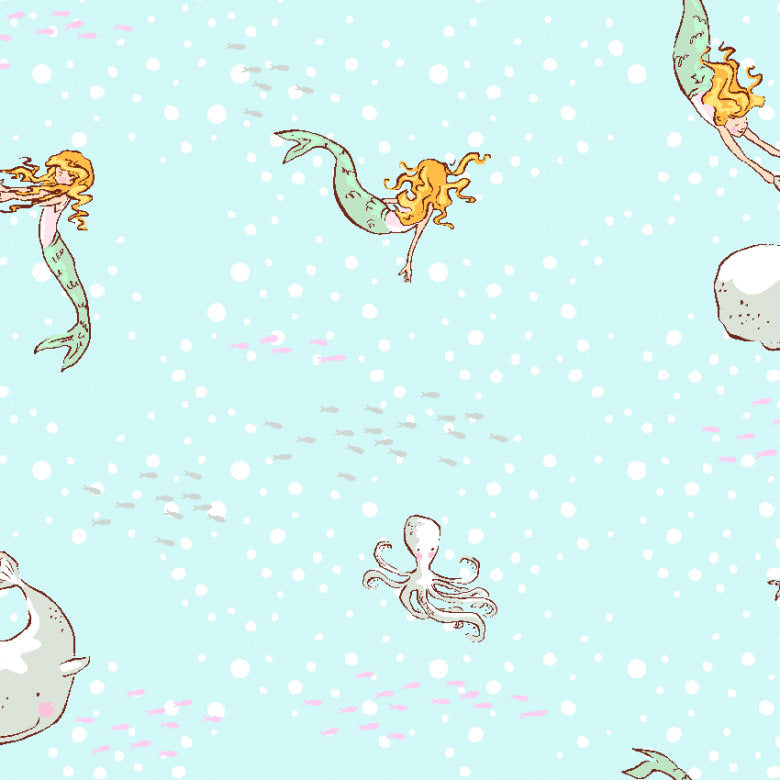 Mermaid fabric, Narwhal Fabric, Michael Miller Fabric,  Mermaid Play, Sarah Jane Fabric, Out to the Sea Fabric, Fabric by the Yard