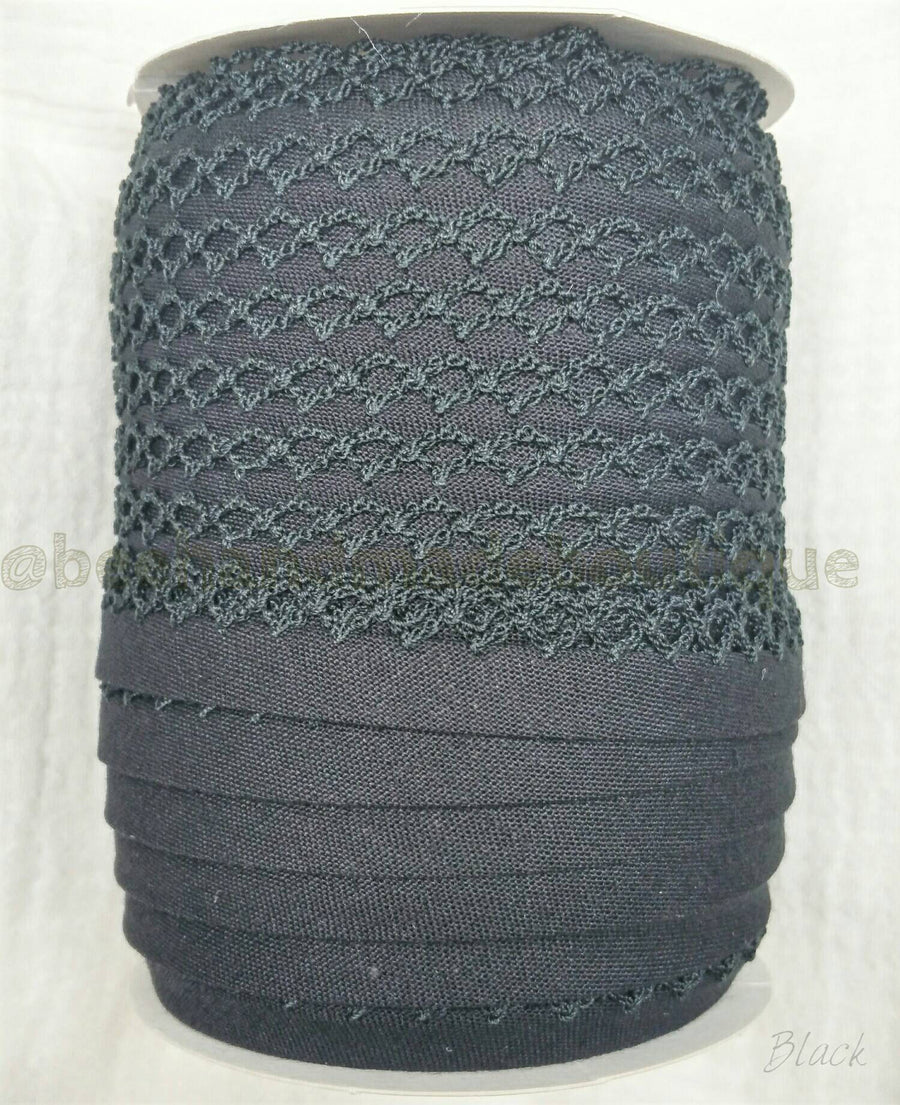 Crochet Bias Tape, BLACK Bias Tape, Picot Bias Tape, Crochet Edge Bias Tape,Double Fold Bias Tape, Quilt Binding, Lace, Trim, By the Yard