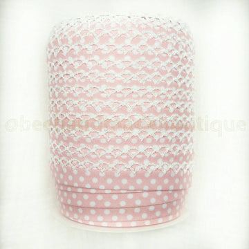 Crochet Edge Bias Tape, Picot Bias Tape, Double Fold Bias Tape, Binding, Baby Pink Trim, Polka Dot Bias Tape, BABY PINK, BTY